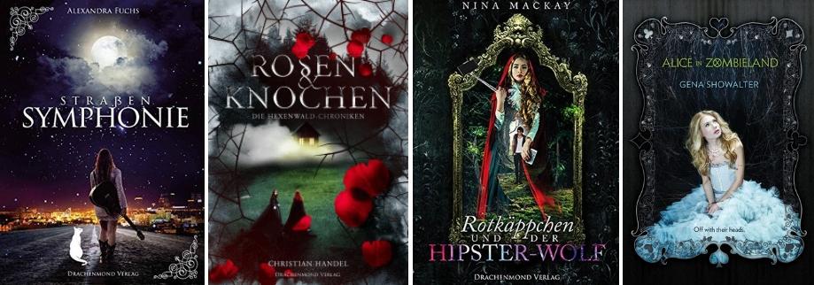 Märchenadaptionen: Straßensymphone (Alexandra Fuchs), Rosen & Knochen (Christian Handel), Rotkäppchen und der Hipster Wolf (Nina MacKay), Alice in Zombieland (Gena Showalter)