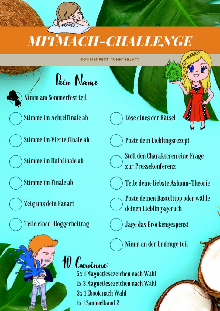 Sommerfest Punkteblatt für die Mitmach-Challenge